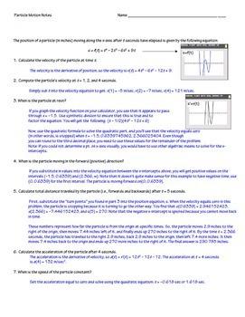 Calculus  Derivatives Particle Motion