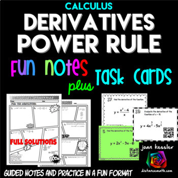 Calculus Derivatives Power Rule Task Cards plus Comic Book Style Doodle Notes