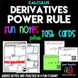 Calculus Derivatives Power Rule Task Cards plus Comic Book Style FUN Notes