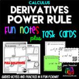 Calculus Derivatives Power Rule Task Cards plus Comic Book