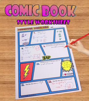 Calculus Derivatives Power Rule Comic Book  Doodle Notes