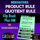 Calculus Derivatives Product Rule Quotient Rule Flip Book No Transcendentals