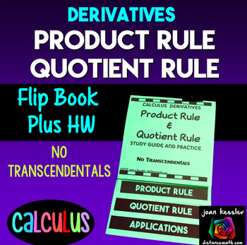 Calculus Derivatives Product Rule Quotient Rule Flip Book