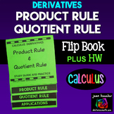 Calculus Derivatives Product Rule Quotient Rule Flip Book and more