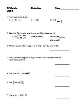 Calculus Derivatives Quiz