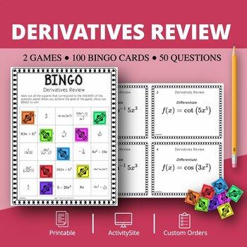 Calculus Derivatives REVIEW Math Bingo Review Game