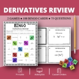 Calculus Derivatives REVIEW Math Bingo Review Game