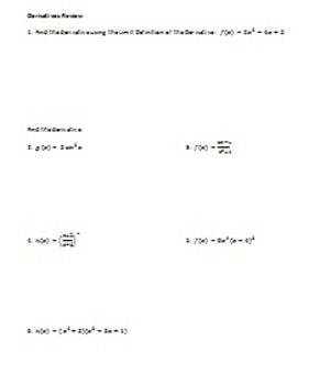Calculus: Derivatives Review