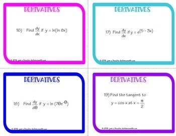 Calculus: Derivatives  End of Unit Review Worksheets  HW Task Cards - QR