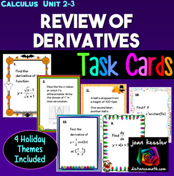 Calculus Derivatives Unit Review with Multi - Holiday Themed Task Cards