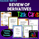 Calculus Derivatives Unit Review with Holiday Themed Task Cards