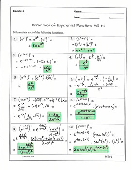 Calculus Derivatives of Exponential Functions (2 WS, 20 problems, solutions)