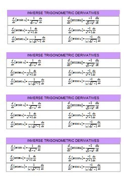 Calculus: Derivatives of Inverse Trig Functions  Task Cards and More