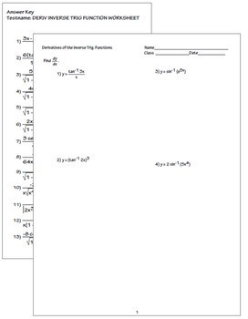 Calculus: Derivatives of Inverse Trig Functions Task Cards and Organizer
