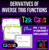Calculus Derivatives of Inverse Trig Functions Task Cards and Organizer