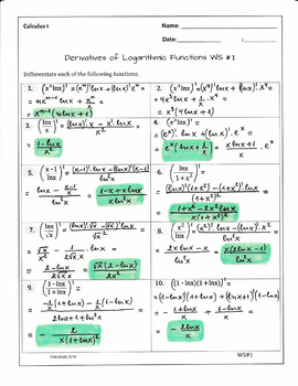 Calculus Derivatives of Logarithmic Functions( 2 WS, 20 problems, solutions)