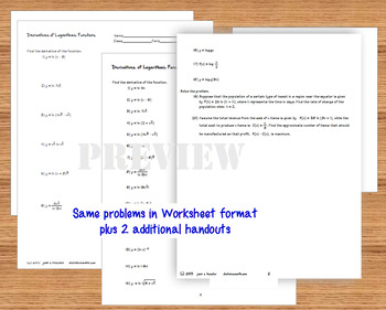 Calculus Derivatives of Logarithmic Functions Task Cards plus Quiz HW
