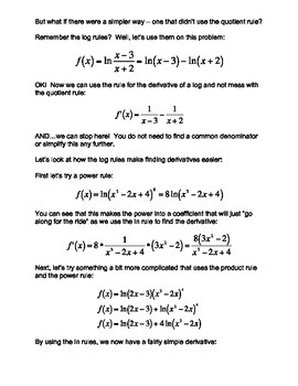 Calculus:  Derivatives of Logs & Exps the Easy Way!