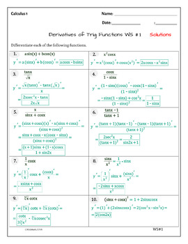 Calculus Derivatives of Trig Functions ( 20 problems, typed solutions )