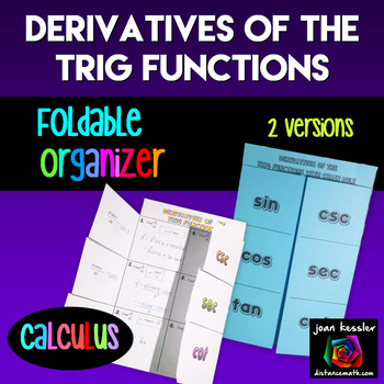 Calculus Derivatives of the Trig Functions Foldable Organizer