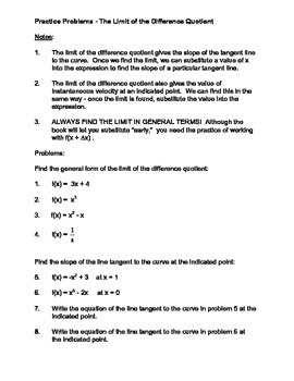 Calculus:  Derivatives using the Difference Quotient
