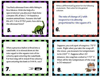 Calculus Differential Equations Growth and Decay Station Cards plus Foldable