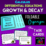 Calculus Differential Equations Exponential Growth and Decay Cards plus Foldable