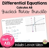 Differential Equations Guided Notes with Video Lessons (AB