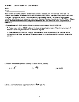 Calculus Differentiation Applications Take Home Test