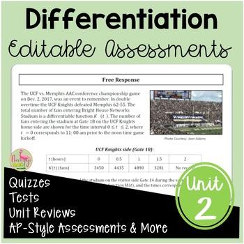 Calculus Differentiation Assessments (Unit 2)