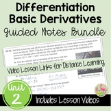 Calculus Derivatives Guided Notes and Video Lessons (Unit