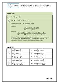 Calculus - Differentiation - The Quotient Rule
