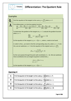 Calculus - Differentiation - The Quotient Rule