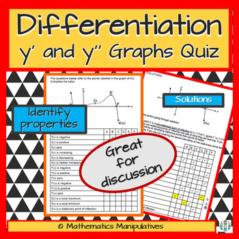 Calculus Differentiation y' and y'' Graphs Quiz