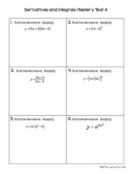 Calculus End of Year Mastery Test Derivatives and Integrals