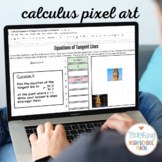 Calculus Equations of Tangent Lines Task Card Pixel Art