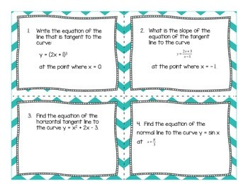 Calculus Equations of Tangent Lines Task Cards (with optional QR Codes)