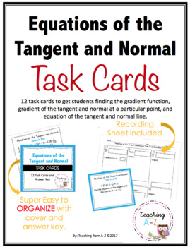 Calculus: Equations of the Tangent and Normal Task Cards