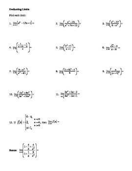 Calculus:  Evaluating Limits Algebraically