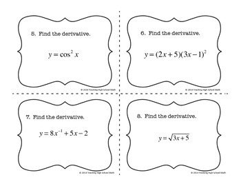 Calculus Finding Derivatives Task Cards with and without QR Codes