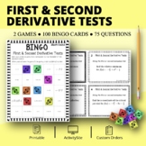 Calculus: First & Second Derivative Tests Math Bingo Review Game
