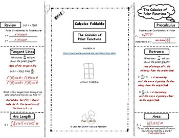 Calculus Foldable 10-1: The Calculus of Polar Functions