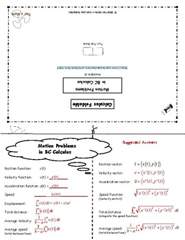 Calculus Foldable 12-1: Motion Problems in BC Calculus