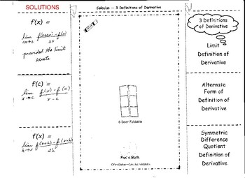 Calculus Foldable 2-1: Three Definitions of Derivative