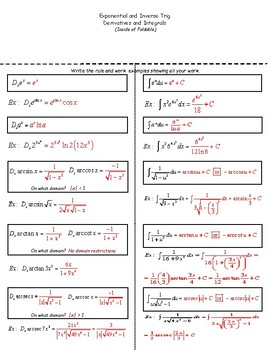 Calculus Foldable 5-4: Exponential and Inverse Trig Derivatives and Integrals