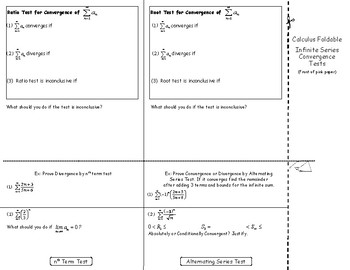 Calculus Foldable 9-2: Infinite Series Convergence Tests