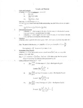 Calculus: Formulas and Theorems (Year)