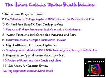 Calculus Honors Review Bundle for Back To School