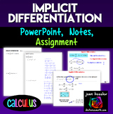 Calculus Implicit Differentiation Guided notes, PowerPoint™, Practice
