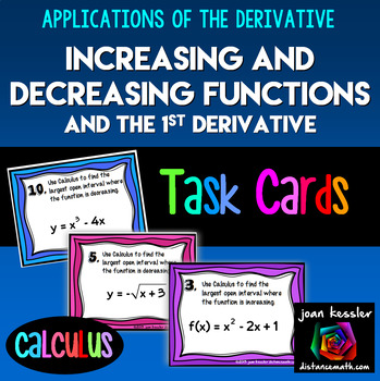 Calculus Increasing and Decreasing Functions Task or Station Cards